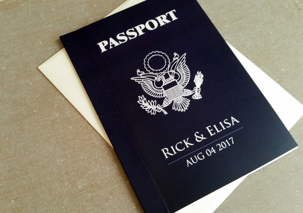 Passport wedding invitation – Monaco – Modern US navy blue ...