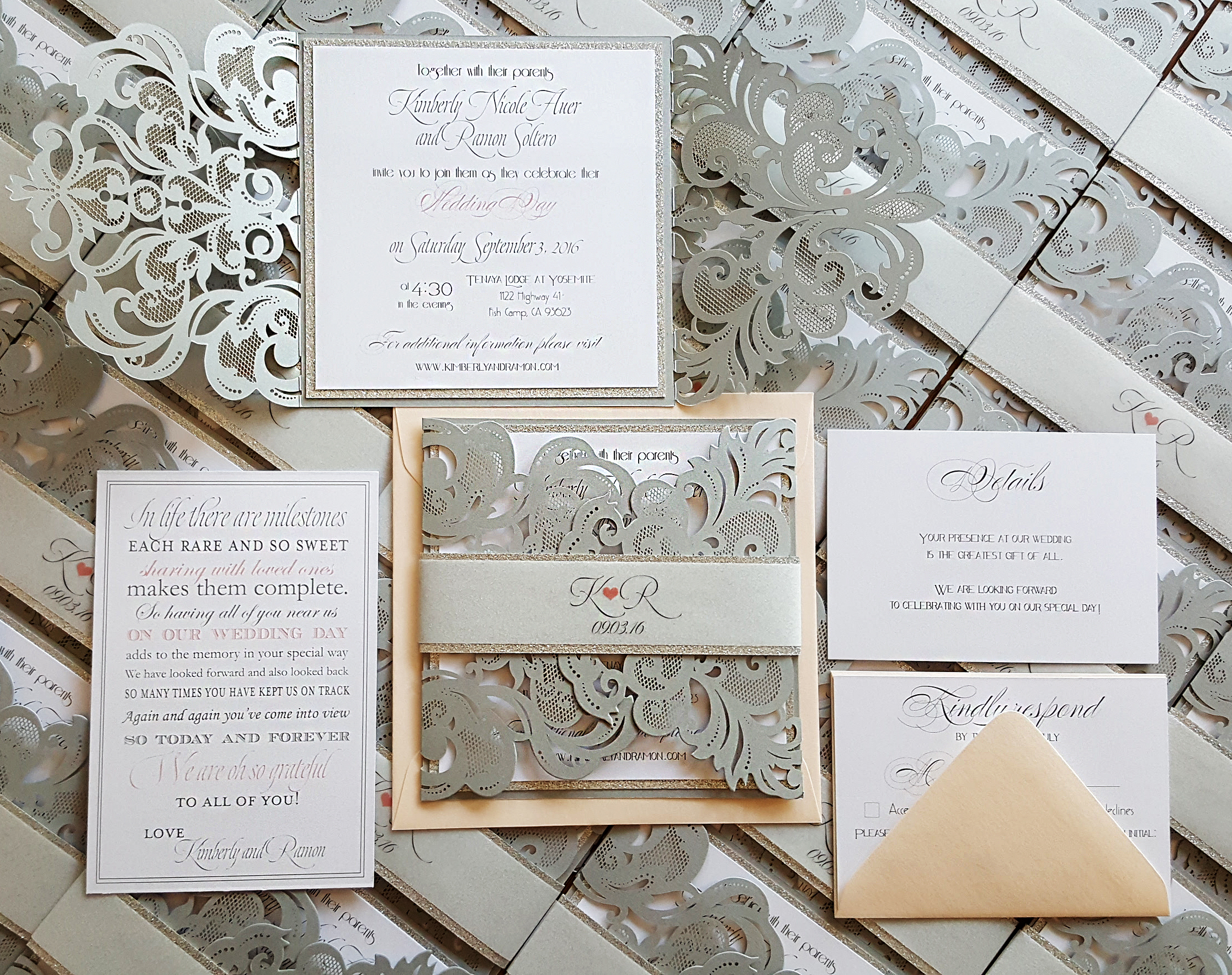 Winter wedding invitations laser cut wedding invites silver blush ...