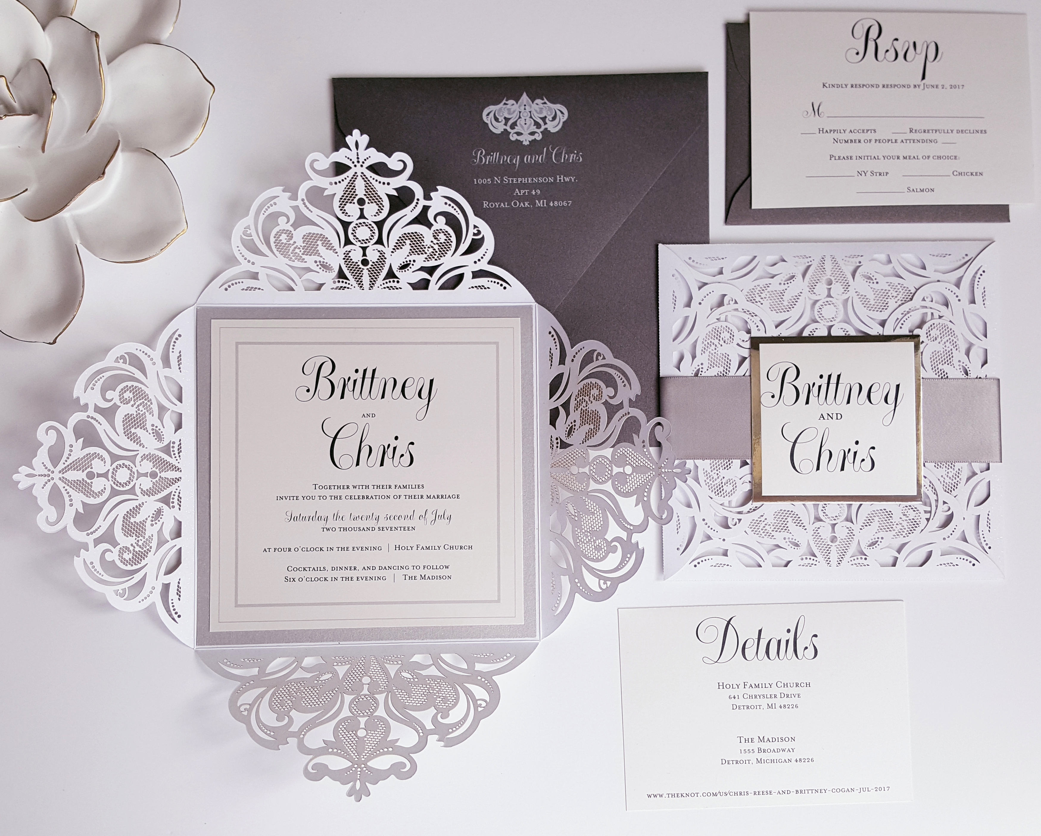 White And Silver Weding Invitations 06 - White And Silver Weding Invitations