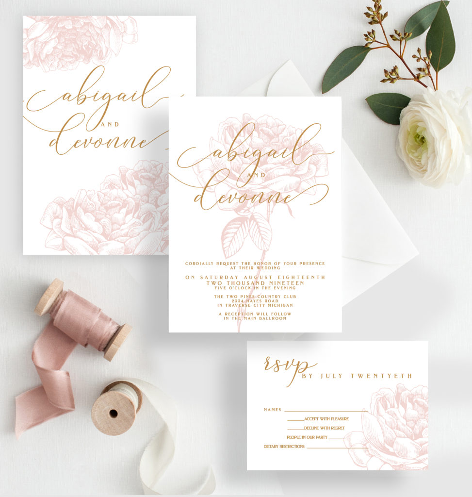 Floral Greenery wedding invitation design » Designed with Amore ...