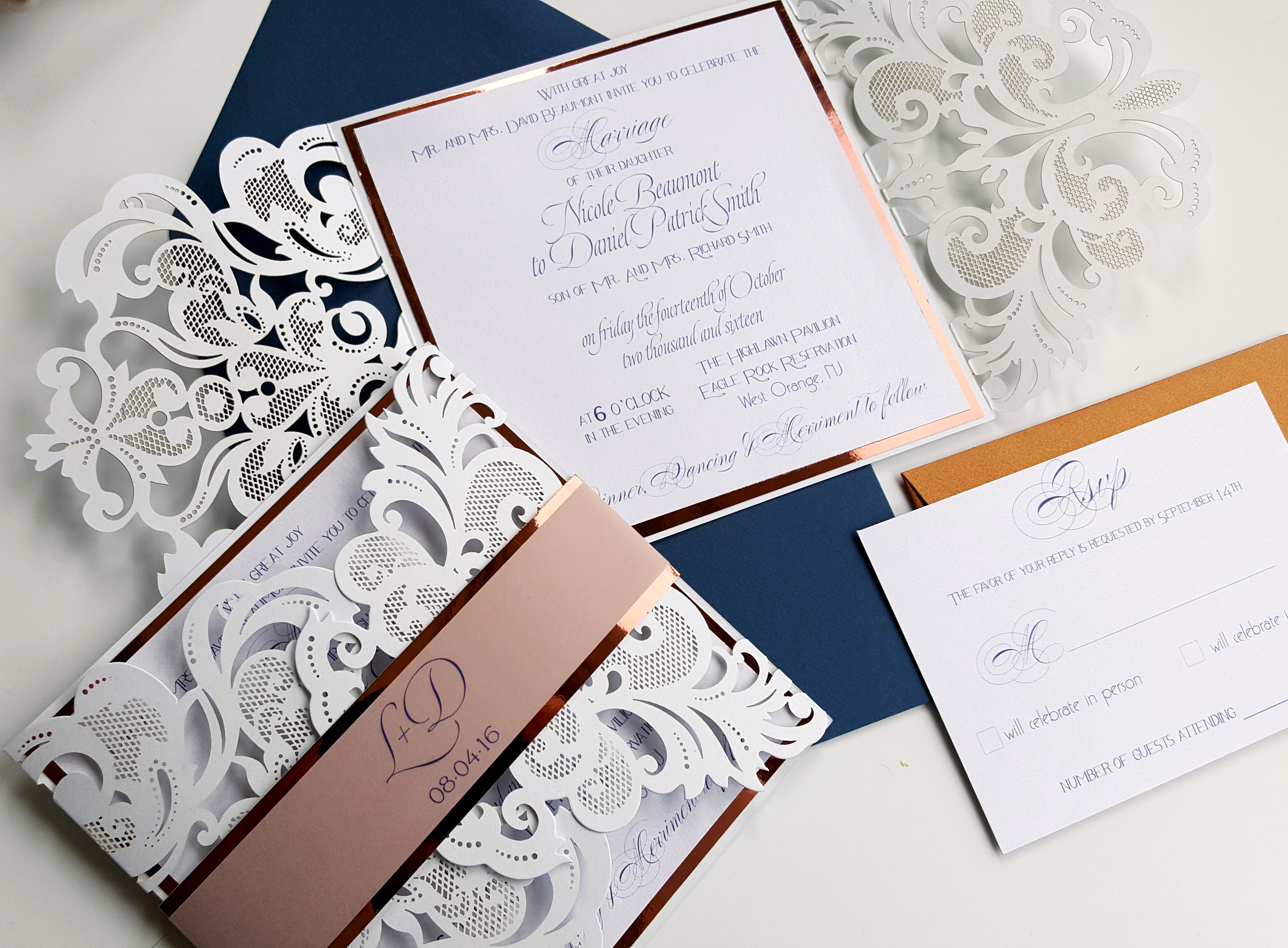 Laser cut Wedding Invite Modern Wedding Invitation Laser cut Elegant ...