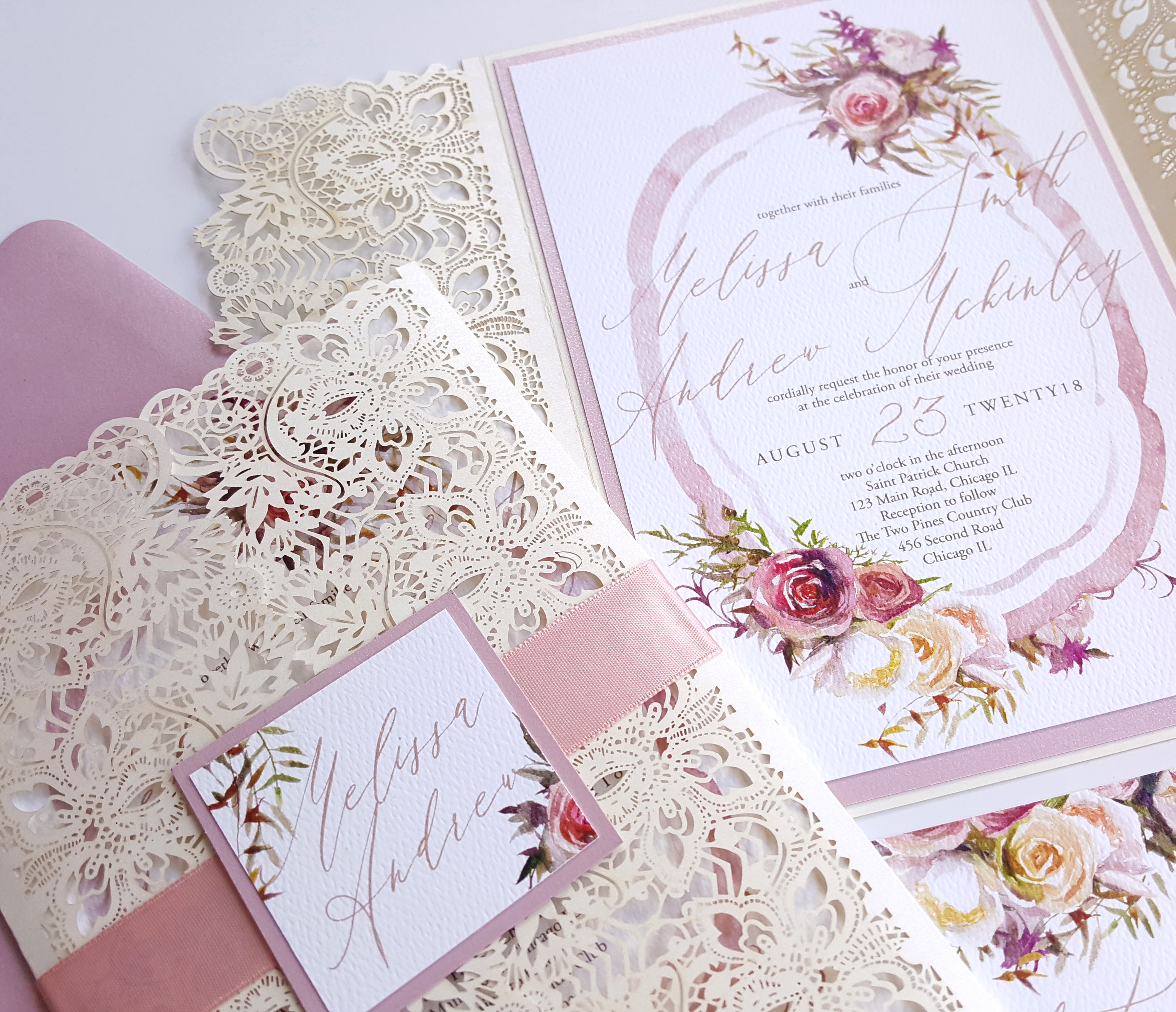 Lace Wedding Invitations laser cut Invitations wedding floral ...