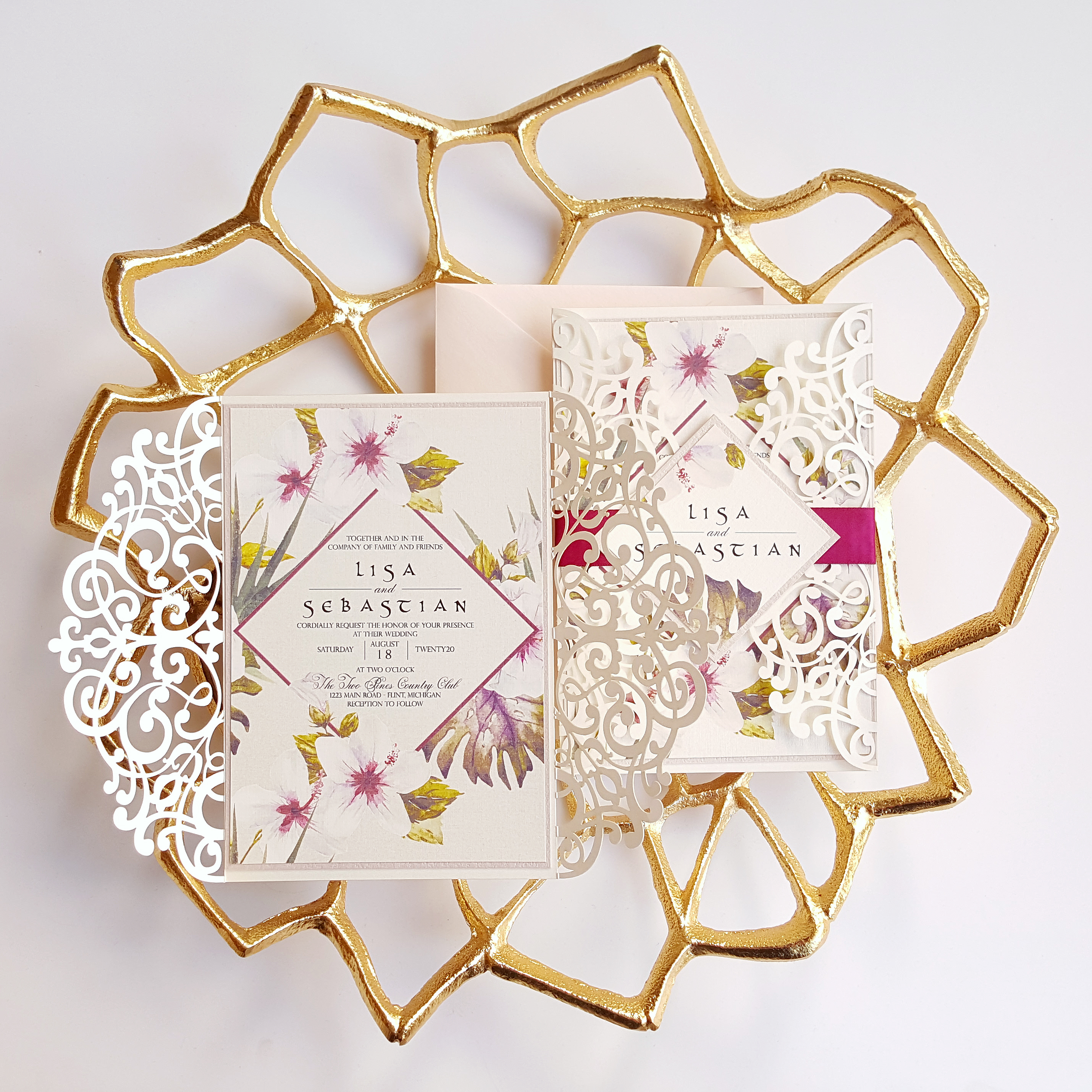 Floral Wedding Invitations, laser cut Boho Chic Wedding Invite blush ...
