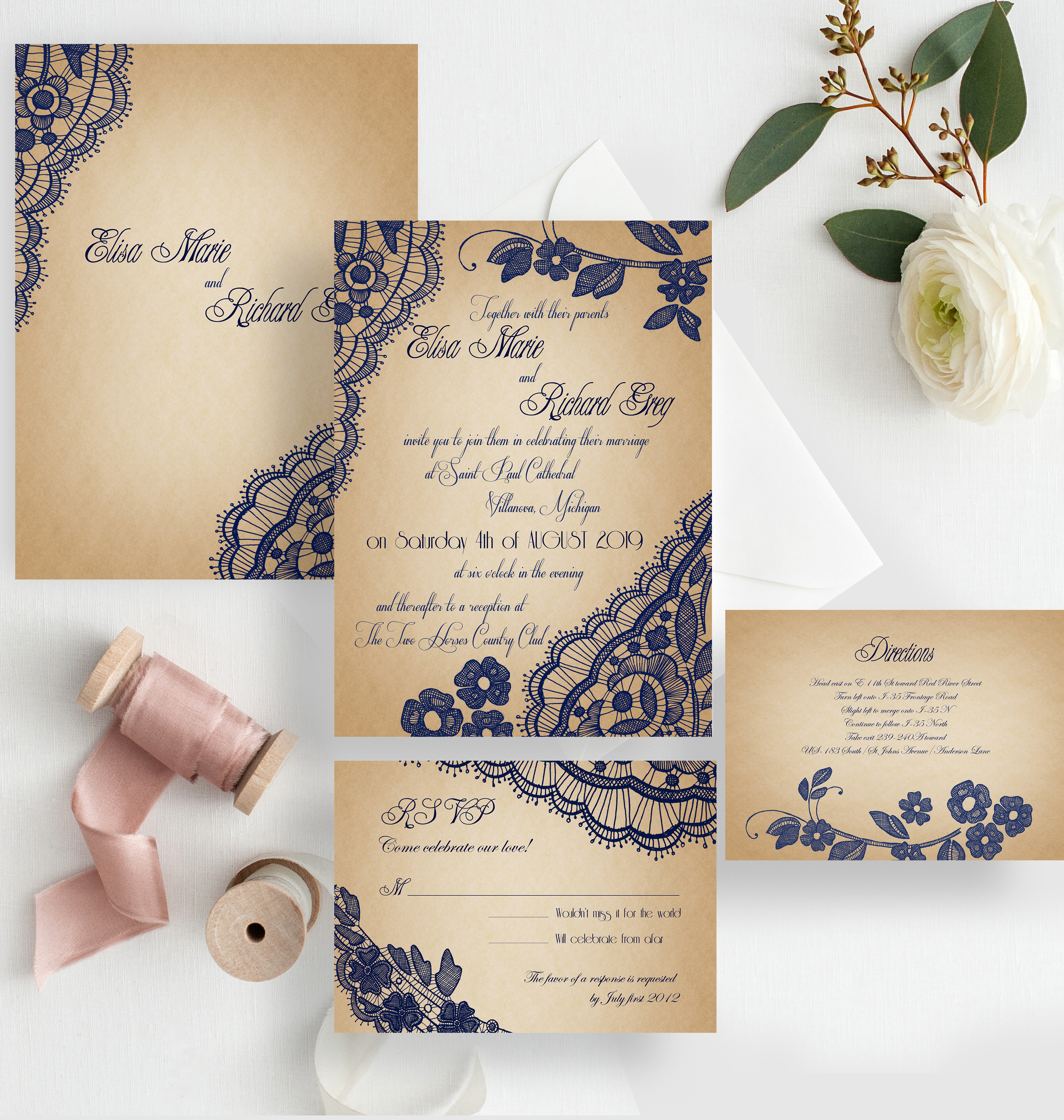 Bellevue - lace wedding invitations