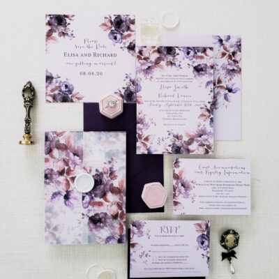 purple stationery collection with flowers