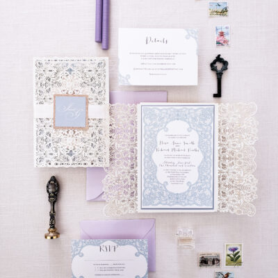 white and lavender stationery with lace detailing