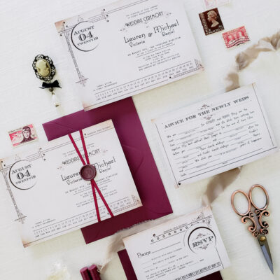 wedding invitations with maroon envelopes