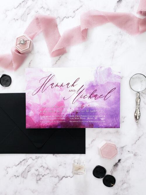 black purple wedding invitation