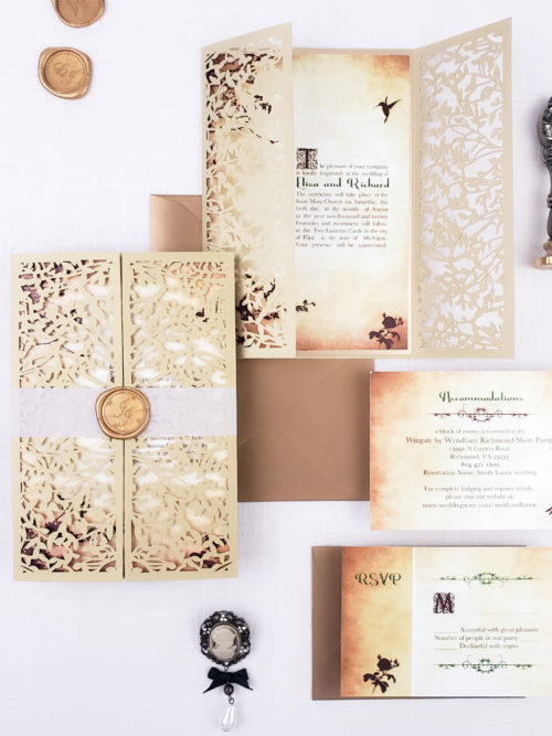 fairytale wedding invitation laser cut