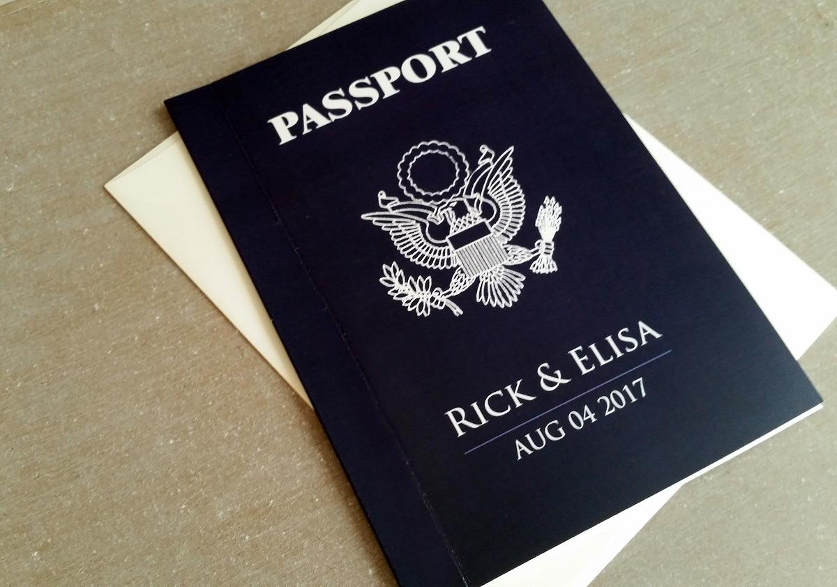 Passport Wedding Invitation Monaco Modern Us Navy Blue