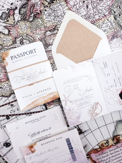 rose gold passport wedding invitations