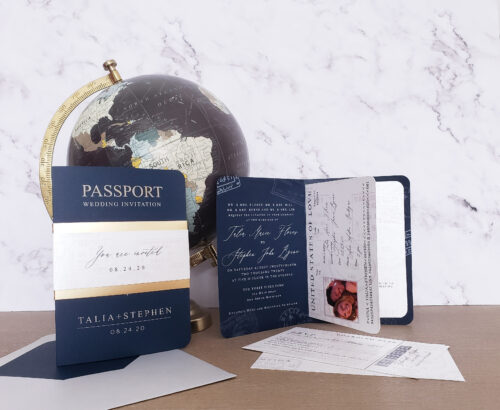 modern passport wedding invitation