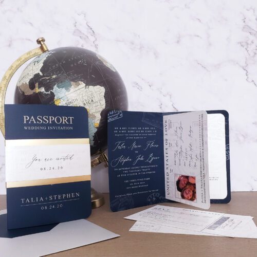 modern passport wedding invitation