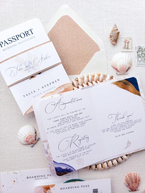 tropical passport wedding invitations