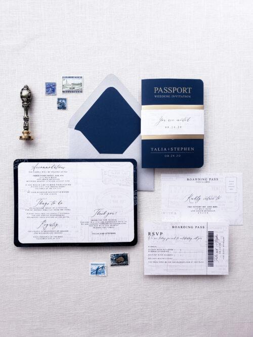 navy blue passport wedding invitation