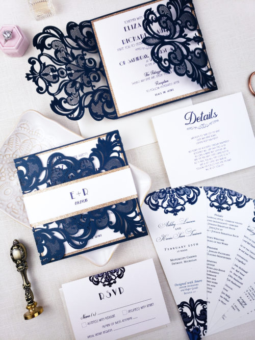 navy laser cut wedding invitations