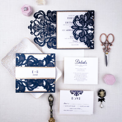 laser cut wedding invitations navy blue, art deco navy blue laser cut wedding invitations elegant