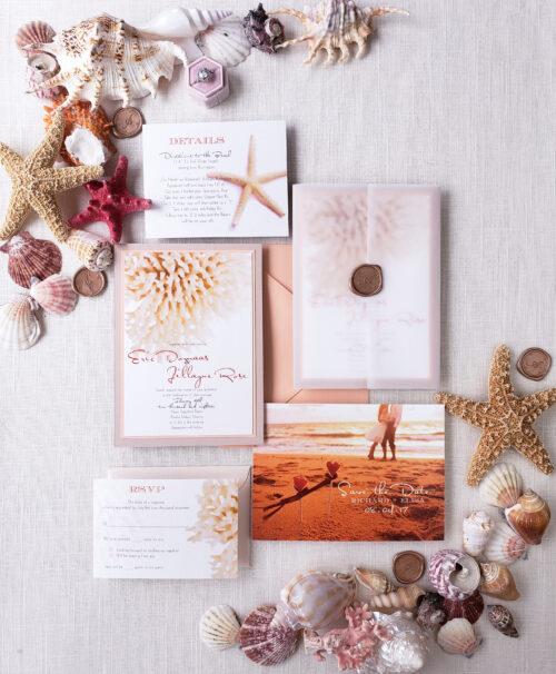 vellum destination wedding invitation suite