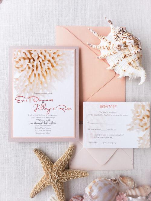 seashell wedding invitation suite