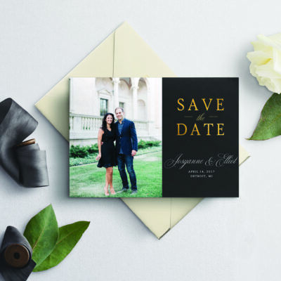 save the date with couple photo on invitation with envelope