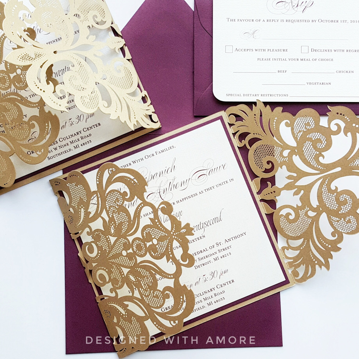 Burgundy Gold lasercut wedding Invitation card - Broadway design ...