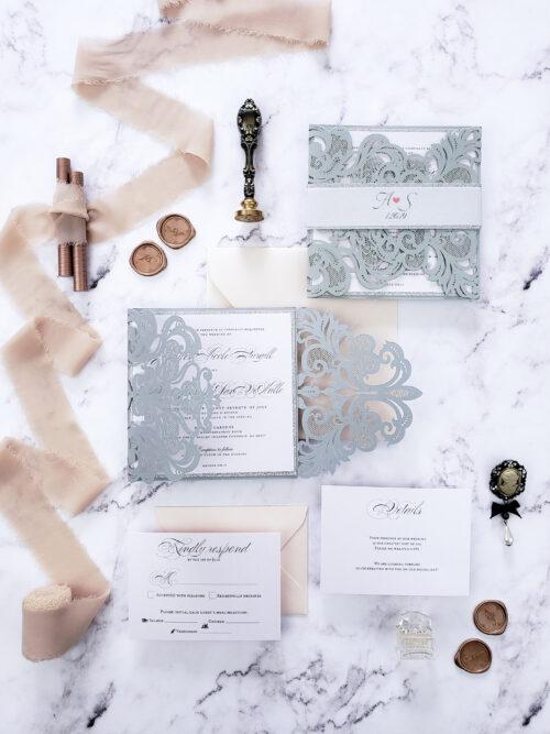 silver laser cut wedding invitation suite, wedding invitation card, elegant invitations for wedding laser cut suite
