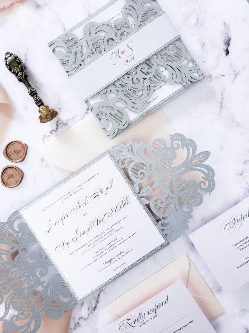 silver laser cut invitation