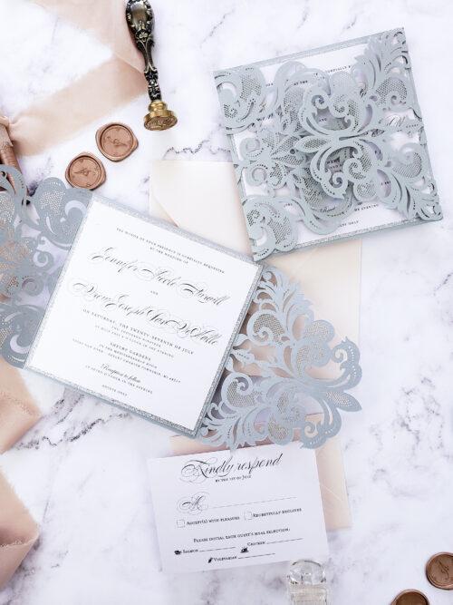 silver glitter invitations