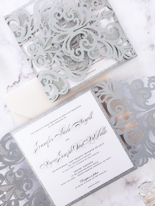 silver laser cut stationery