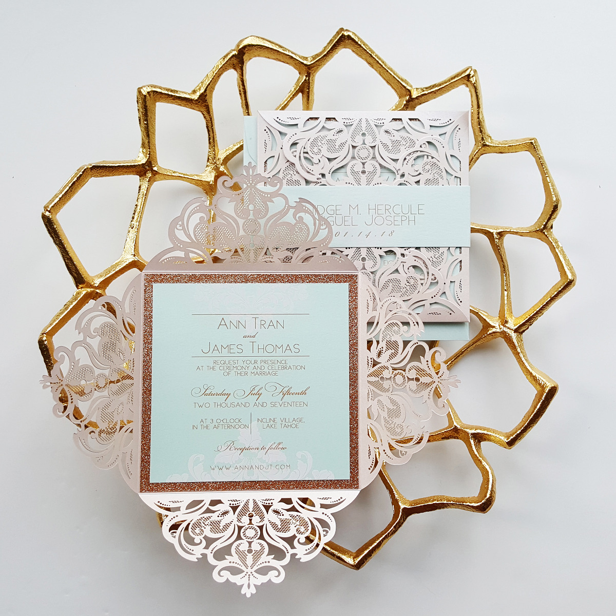 Gold Wedding Invitations: Rose Gold Wedding Invitation, Fairytale Laser Cut
