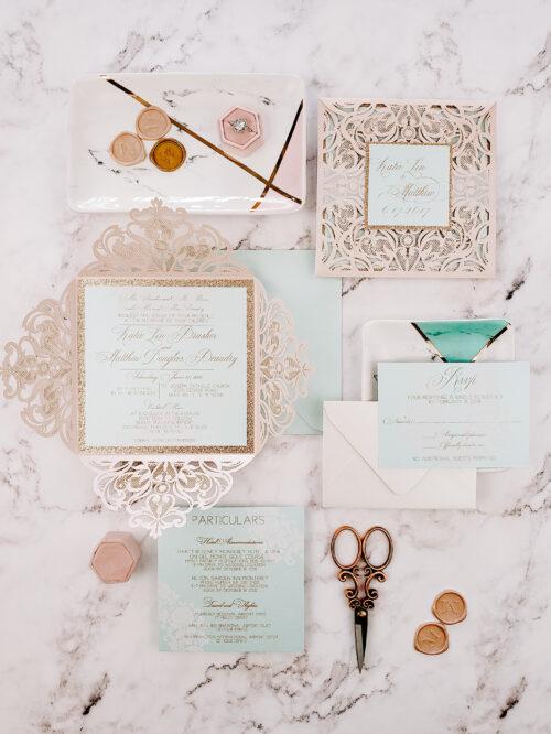 Fairytale Wedding Invitations laser cut, elegant laser cut invitation sample, elegant wedding invitation cards fairy tale