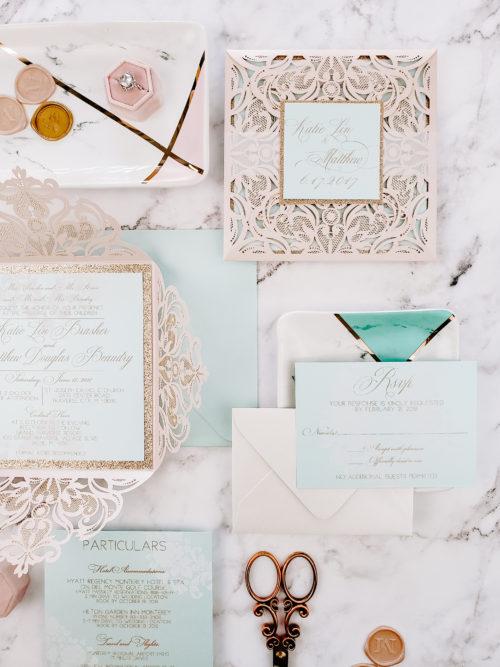 aquamarine wedding invitations