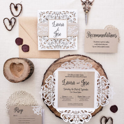 laser cut invitation rustic