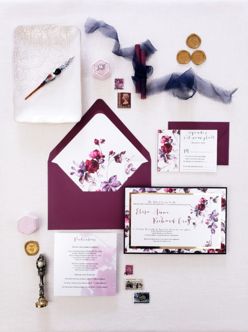 burgundy save the date cards