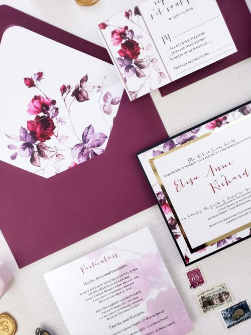 burgundy floral wedding invitations