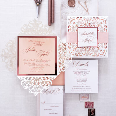 elegant laser cut wedding invitation suite, laser cut ivory wedding invitation sample, invitations for wedding simple