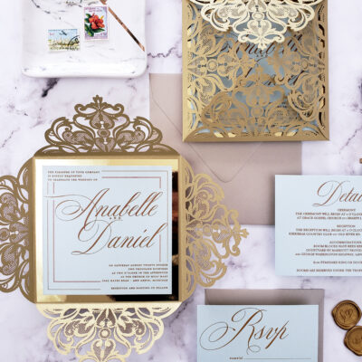 Fairy tale laser cut wedding invitations elegant, elegant invitations for wedding with laser cut wrap, wedding invitation card