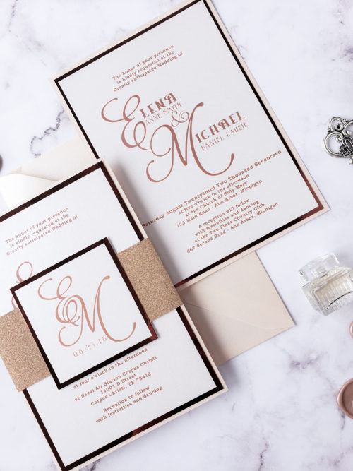 blush and rose gold invitations