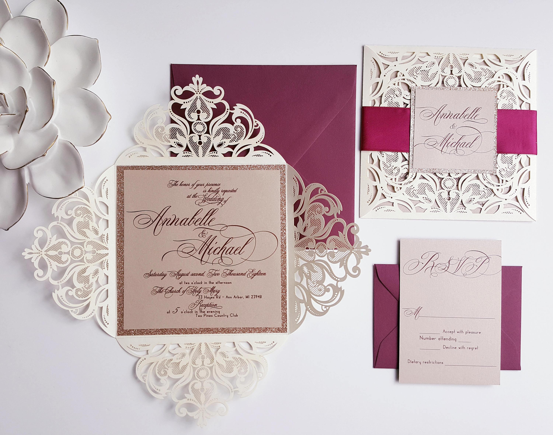 30946257839da Winter laser cut wedding invitation - Burgundy gold wedding