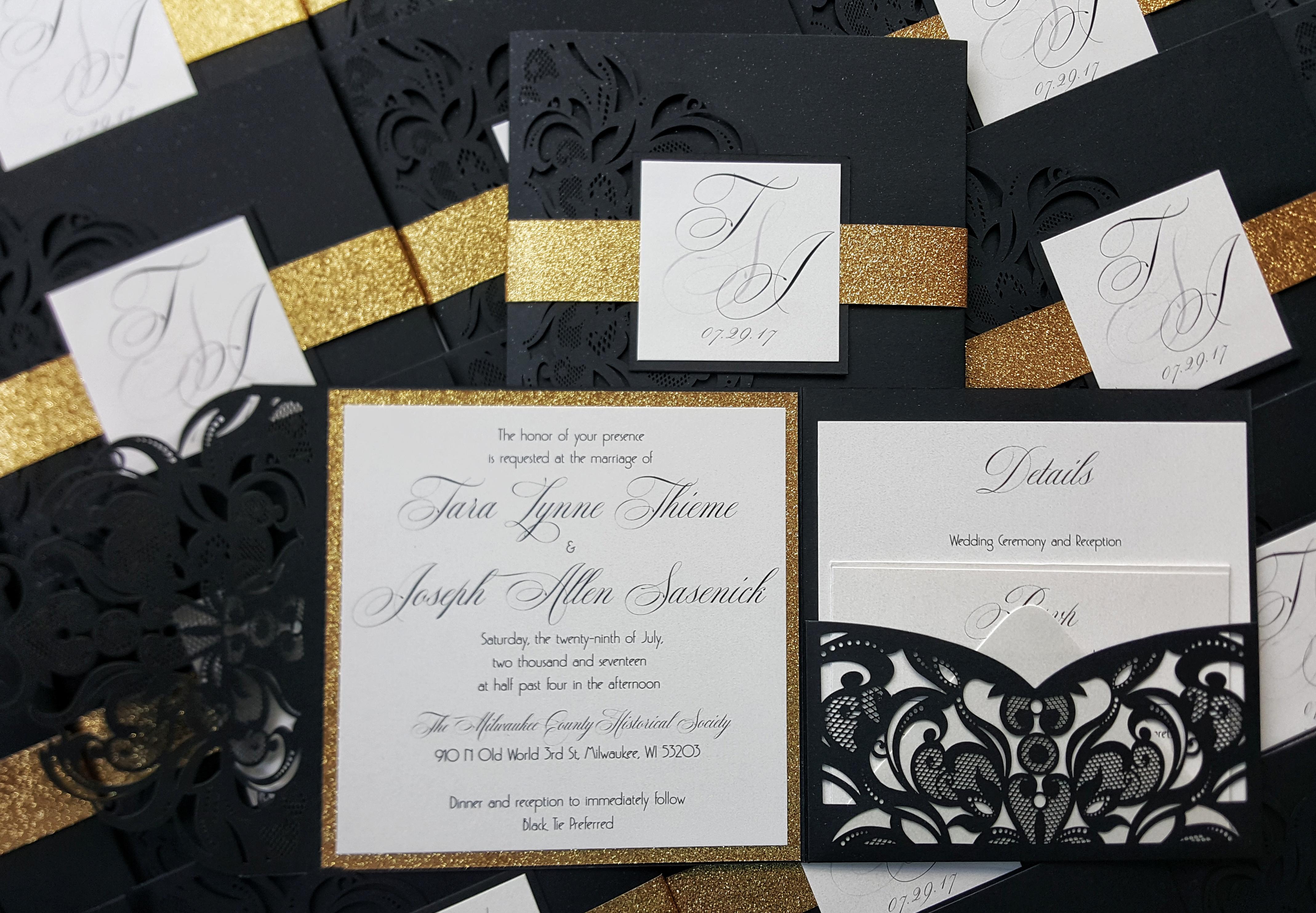 Black gold laser cut Invite, art deco wedding invitation laser cut