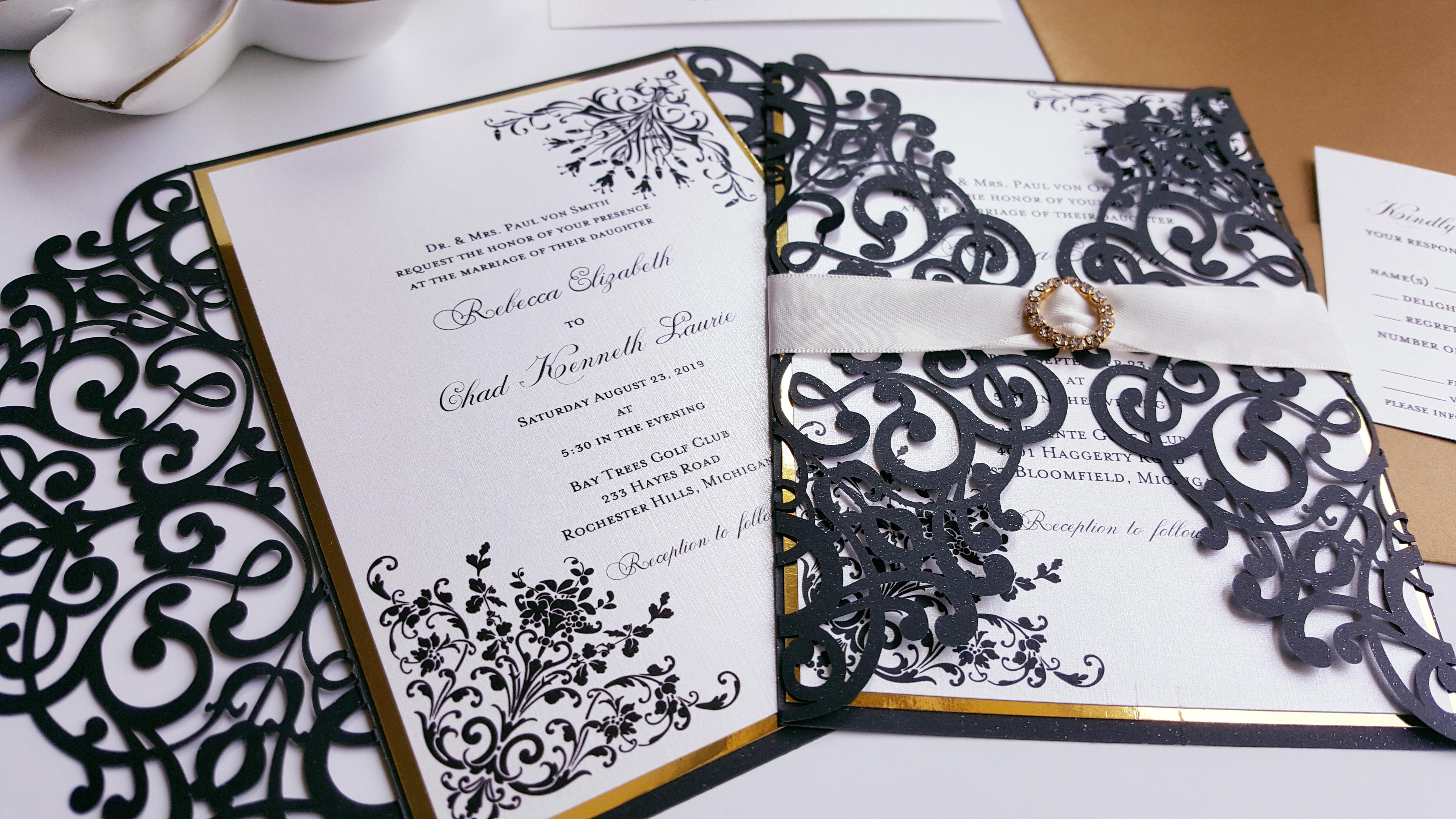 Elegant simple wedding invitations - Black and white