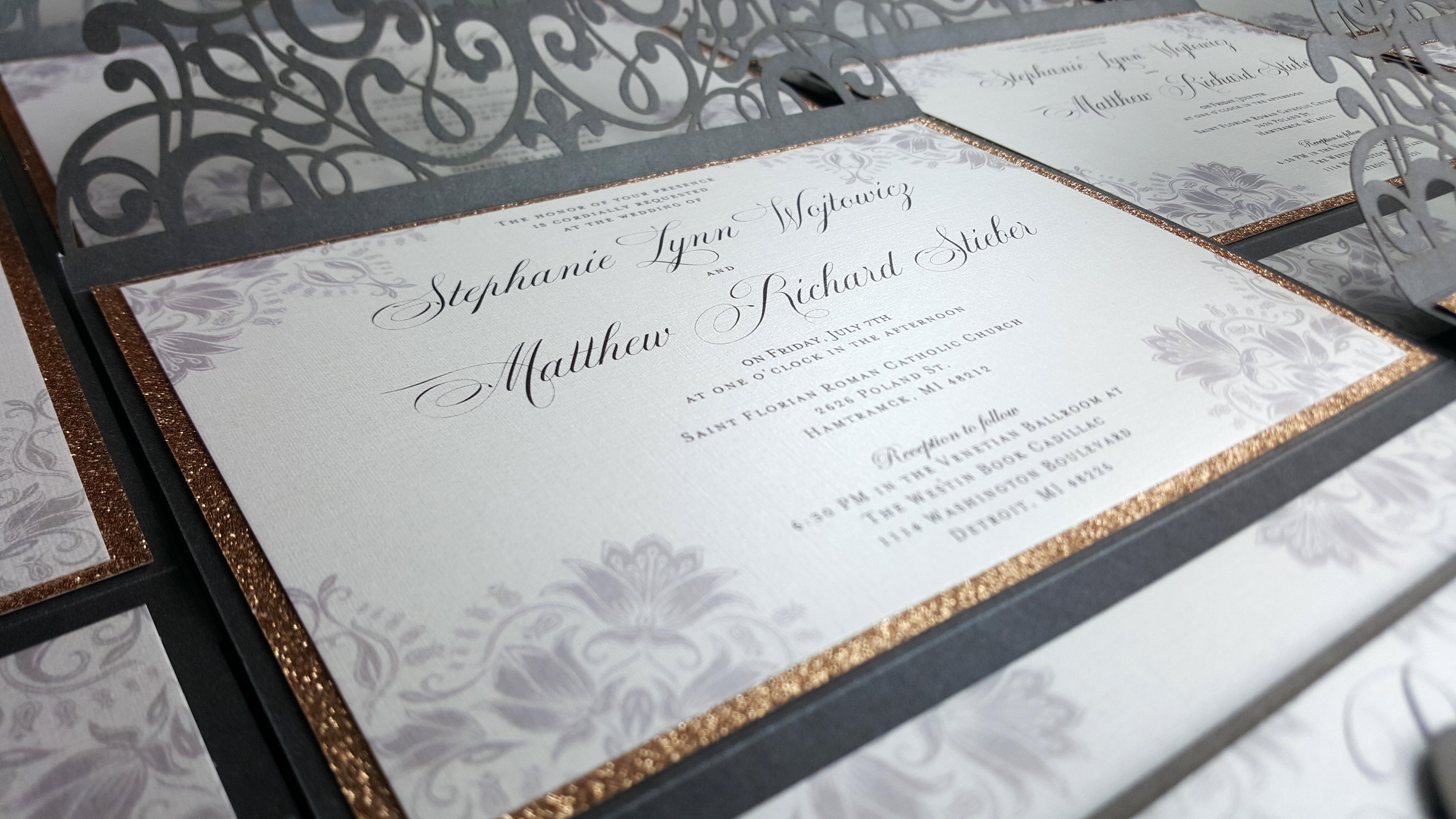 Wedding invitation suite, pocket wedding invitation