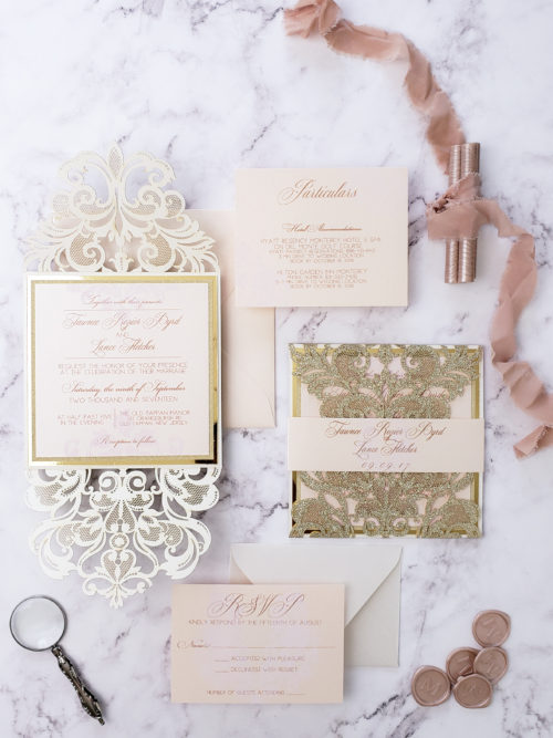gold glitter elegant wedding invitations laser cut, laser cut invitation card, romantic wedding invitation suite blush gold