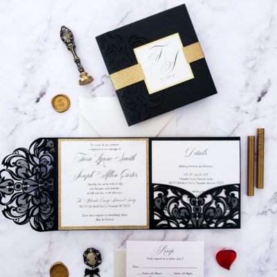 Invitations wedding elegant, wedding invitation elegant, black gold wedding invitations laser cut, elegant laser cut invites