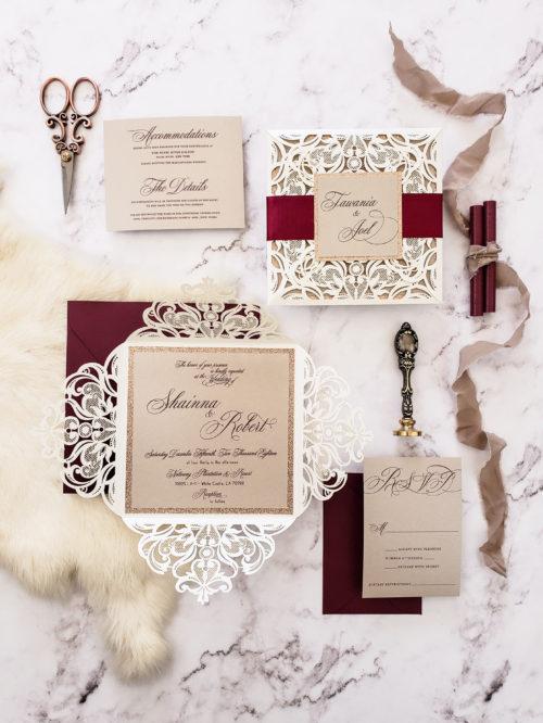 classic elegant laser cut wedding invites, elegant invitations for wedding, burgundy wedding invitations elegant