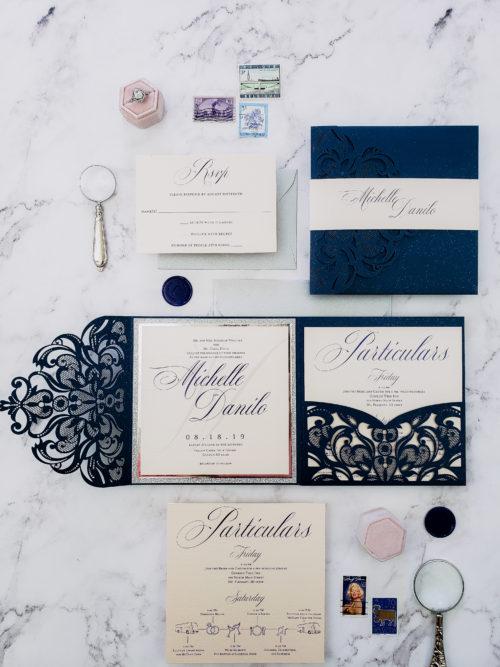 wedding invitations elegance, navy blue blush wedding invitation suite, wedding invitation sample navy blue laser cut pocket fold