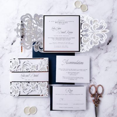 white laser cut wedding invitation suite, wedding invitation sample elegant, elegant wedding invites laser cut