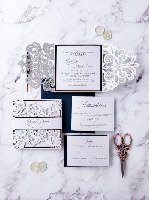 white laser cut wedding invitation suite, wedding invitation sample elegant, elegant wedding invites laser cut