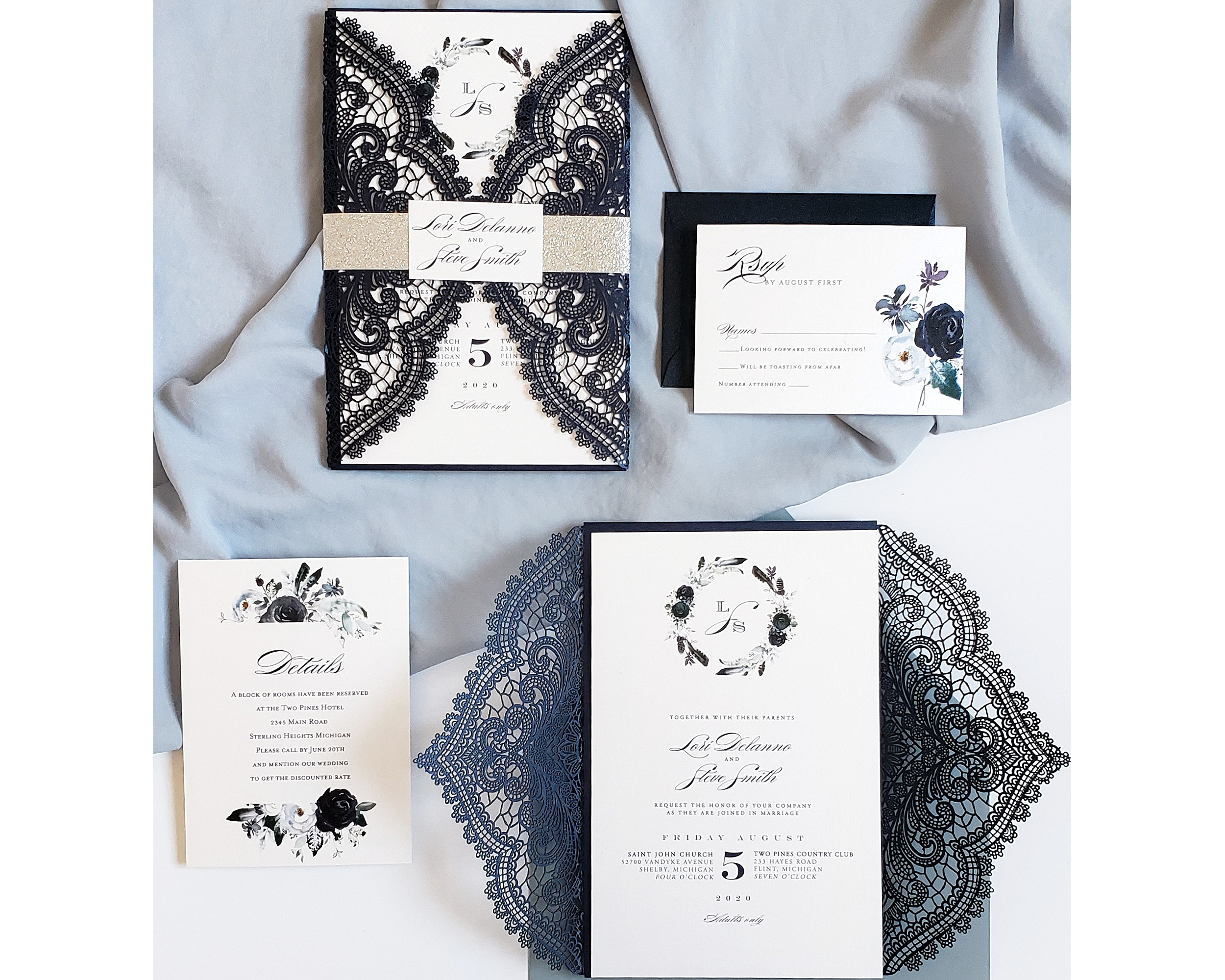 Dark Blue Wedding Invitations: Navy Lace Wedding Invitations, Dusty Blue Wedding