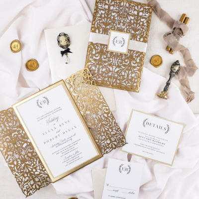 Gold wedding invitation elegant, elegant wedding invitations suite, laser cut invitation design luxury wedding invitations